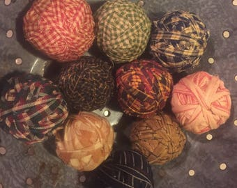 10 large Ragballs Look Old Primitive Country Rag Balls farmhouse rustic