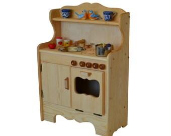 Natural Wooden Toy Play Kitchen-Waldorf Toy Kitchen- Wooden Toys- Montessori wooden stove-Play Food Pretend