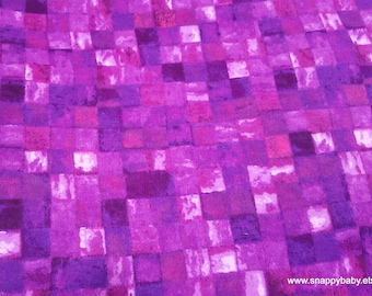 Flannel Fabric - Tile Watercolor Purple and Pink - By the yard - 100% Cotton Flannel