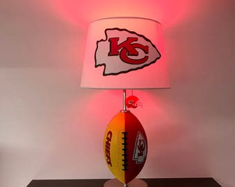 Sports lamp etsy kansas city chiefs football lamp nfl man cave sports lamp kids night mozeypictures Images