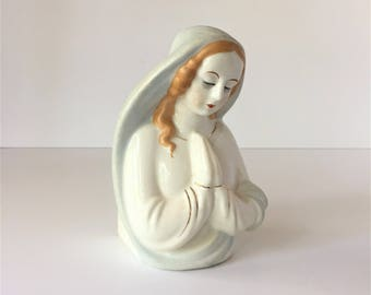 Praying Madonna Planter, Vintage Virgin Mary Figurine, Ceramic Mother Mary Statuette, Catholic Icon Art Home Altar, First Communion Gift