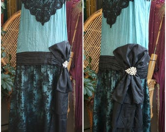 Azure Coquette 1920's Silk and Lace Dress Gown Handmade with Antique Materials 20s Style Flapper Gatsby Art Deco