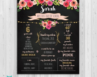 First day of Kindergarten sign, First day of school sign, Girls Floral School Chalkboard poster, 1st day Back to School Sign Printable