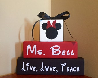 Mickey Mouse Minnie Mouse Personalized Customized Walt Disney Teacher Nurse Wood Block Set Christmas Gift Birthday Stacker Set Classroom Dec