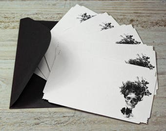 """Note Cards - Skull - Tree  - Goth - Italian Paper - Die Cut Cards - W4.52"""" x H 2.75"""" - Set of 12 Note Cards"""