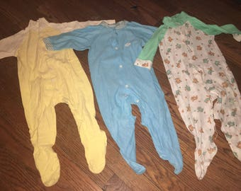 Vintage Lot/3 1970s Yellow Green Blue Pajama Footies Size 0-12 months