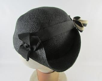 Vintage Black Straw Hat , Vintage Headpiece, Vintage Hat with Veil, Vintage Mourning Hat, Three Corner Hat