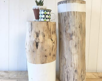Log side tables scandi style