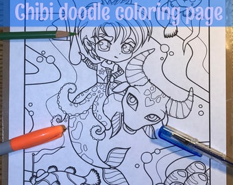 Chibi underwater rodeo sea creatures Doodle Anime Manga Coloring Page for Adult Coloring PDF download by JennyLuanArt