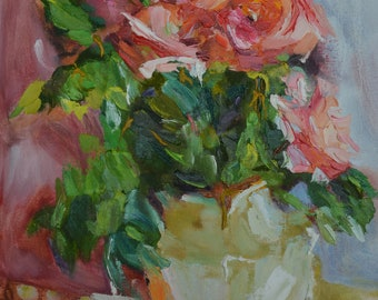 Oil still life red orange roses for mom  Original oil  painting by author Bouquet of roses  Bohemian decor Gift for mom or beloved woman