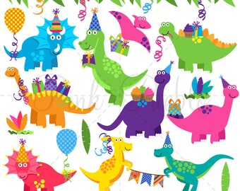 Dinosaur Birthday Clipart, Dinosaur Birthday Clip Art, Dinosaur Party Clipart Clip Art - Commercial and Pers