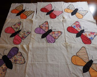 Vintage  1950s 1960s quilting blocks hand appliqued Butterflies 8 quilting blocks
