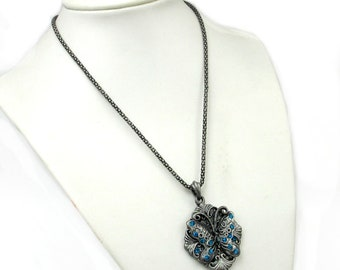 Metal Pendant Necklace,Acrylic Diamond Inlaid Alloy Metal Butterfly Pendant Charm 43mm x 33mm  T1037