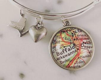 Buffalo Map Charm Bracelet - Personalized Map Jewelry - New York - Travel - Wanderlust - Hometown Pride