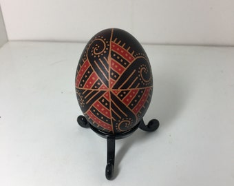 Red/Black Swirl Pysanky Brown Chicken Egg