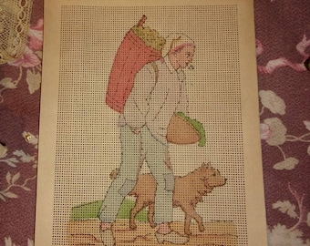 Old cardboard perforated, rare, embroidery FLOSS, 19 th, 1900, collection, canvas, farmer