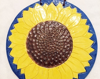 "8"" Stoneware Clay Sunflower Wall Hanging"