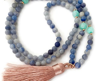 Blue Aventurine and Jade Mala Necklace, Mala Necklace, Tassel Mala, 108 Mala Beads, Silk Tassel Necklace, Meditation Beads, Mala Beads, MBAT