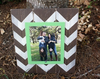 Distressed Picture Frame, Wood 8x10 Frame, Chevron Picture Frame,  8x10 Picture Frame, Wood Plank Frame, Chevron Frame, Brown and Aqua