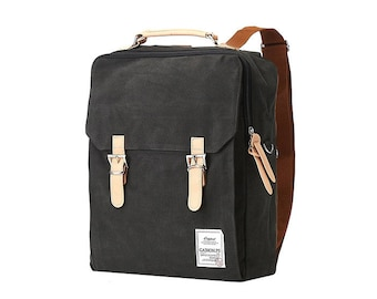 Cotton Square Backpack (Charcoal Gray)