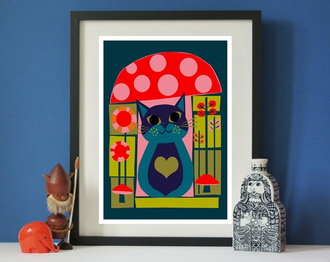 Toadstool Cat print by Jay Kaye A3 print