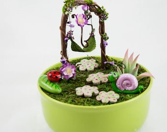 Fairy Dish Garden With Fairy Swing, Fairy Garde Item, Fairy Accessories,  Faerie Decor