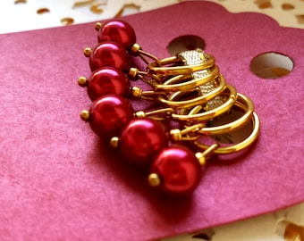 Stitch Markers - Gold and Red Glass Pearl Christmas Knitting Markers - Gift for Knitters or Fiber Artists - Stocking Stuffer - Knitting Tool