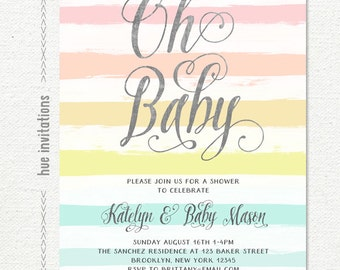 oh baby shower invitation for baby girl, rainbow stripes baby shower invitation, watercolor pastel girly cursive font shower printable file
