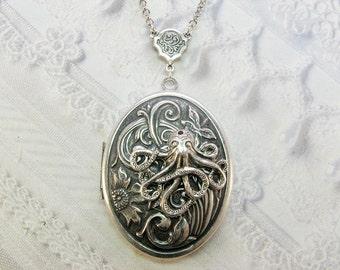Silber Medaillon Halskette - Octopus Halskette Medaillon - Silber OCTOPUS - BirdzNbeez - Valentins Tag Geburtstag beste Freundin Geschenk