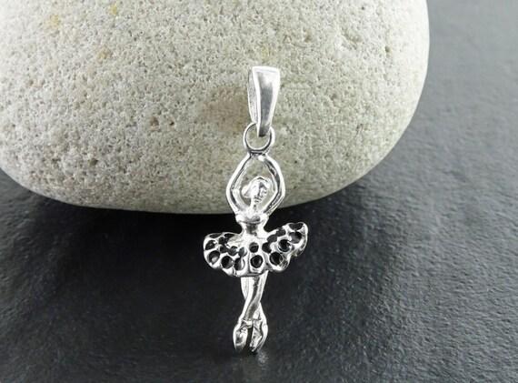 Ballerina Necklace, Sterling silver Pendant, Ballerina Charm, Dancer Recital Gift, Dancer Silhouette, Dance Jewelry, Balck Tutu Dress Skirt
