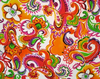 SPECIAL--Brilliant Large Paisley Print Pure Silk Pique Fabric--BY THE Yard