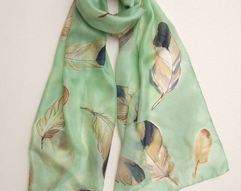Hand painted silk scarf Apple Green Feathers/ Painted scarves/ Unique handmade gift for woman/ Shawl scarf silk. Birthday gift for her KD17