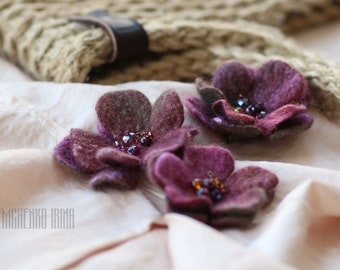 3 Felted Flowers Brooches Felted Flowers Womens Jewelry Wool Silk Brooches Accessories