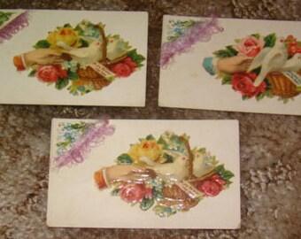 LAST CHANCE SALE 3 Victorian Calling Cards (Hands, Fancy Corner)