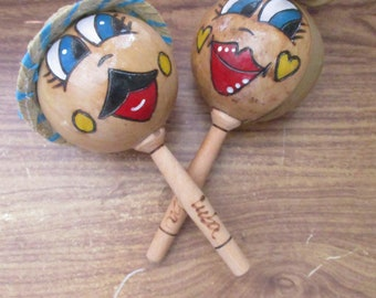 Male and Female / Woman and Man, / Boy and Girl Character Wooden Maracas set