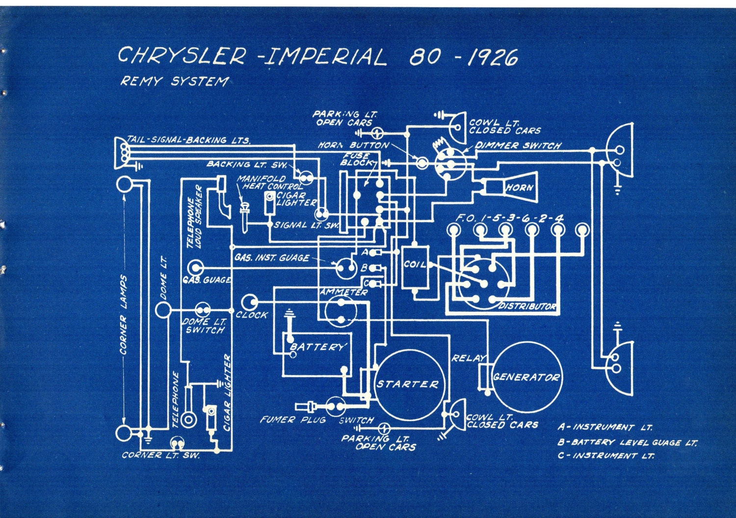 1927 Antique Blueprint Auto Car Chrysler Imperial Engineering Wiring ...