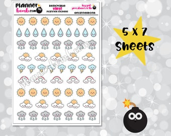 Vinyl Cute Weather Removable Planner Stickers