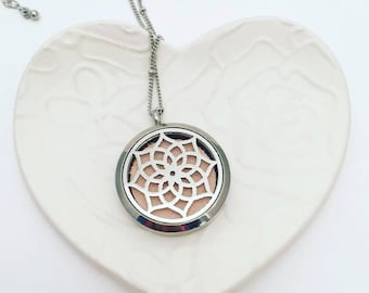 Aromatherapy Necklace - Stainless Steel Essential Oil Diffuser Necklace - Aromatherapy Pendant - Essential Oil Necklace - Diffuser Locket