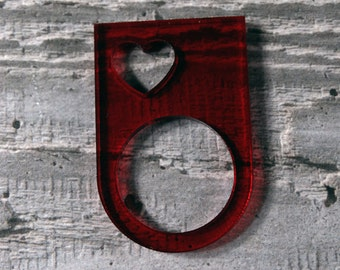 Red Heart Ring - Valentines Ring - Valentines Gift for Her - Perspex Ring - Acrylic Ring