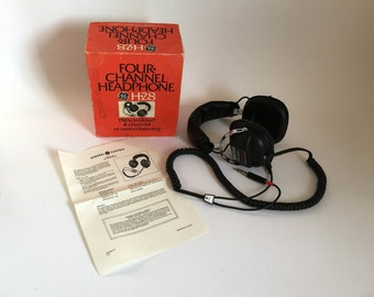 Vintage 1970's GE General Electric H-28 Four Channel Stereo Headphones in Box