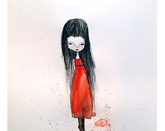 "5x7 Art Print - ""Edina"" - Little Girl in Red Dress - Small sized watercolor art print by Jessica von Braun - little freckled Darkling Girl"