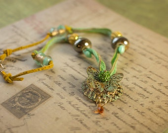 Butterfly Filigree and Silk Ribbon Necklace with Gold Sparkle