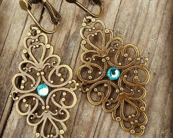 Clip on Antique Brass Filigree Earrings with Aqua colored rhinestone Lightweight