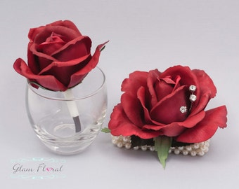 Red Rose Wrist Corsage and Boutonniere Set. Real Touch Flowers. Caroline Rose Collection