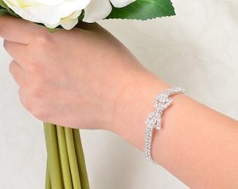 Bracelet, Crystal Rhinestone Bracelet, Bridal Bridesmaid Bracelet, Wedding Accessories. Bridal Jewelry. Silver Crystal Braclet.