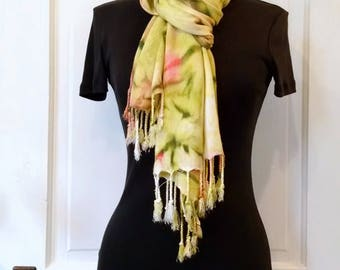 Pink and Green Hand-painted Scarf, Cozy Rayon Challis, 22x74 in., Scarf with Fringe, Soft Scarf, Prayer Shawl, Gift for Women, Beach Coverup
