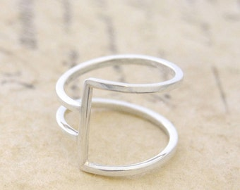 Sterling Silver Ring - Ring for Women - 925 Silver Ring - Modern Ring - Wire Ring - Simple Ring, Thin Ring, Minimalist Ring, Geometric Ring