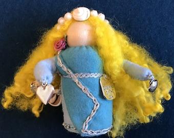 Aphrodite Greek Goddess Peg Doll, Waldorf Wooden Peg Doll, Handmade Miniature, Art Doll