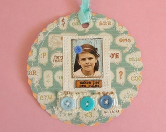 "She ""Makes her Own Rules"" mixed media Tag/Gift Tag/Scrapbook/Card"