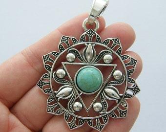 BULK 5 Chakra flower pendants antique silver tone I97